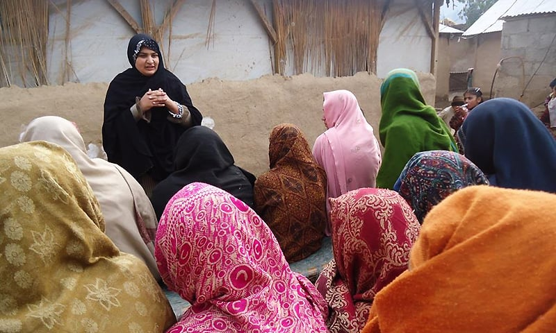 Hadiqa Bashir during a group discussion in Swat.  — Photo courtesy www.alicenter.org