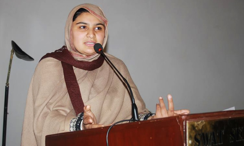 Hadiqa Bashir addressing a function in Swat. — Photo by author