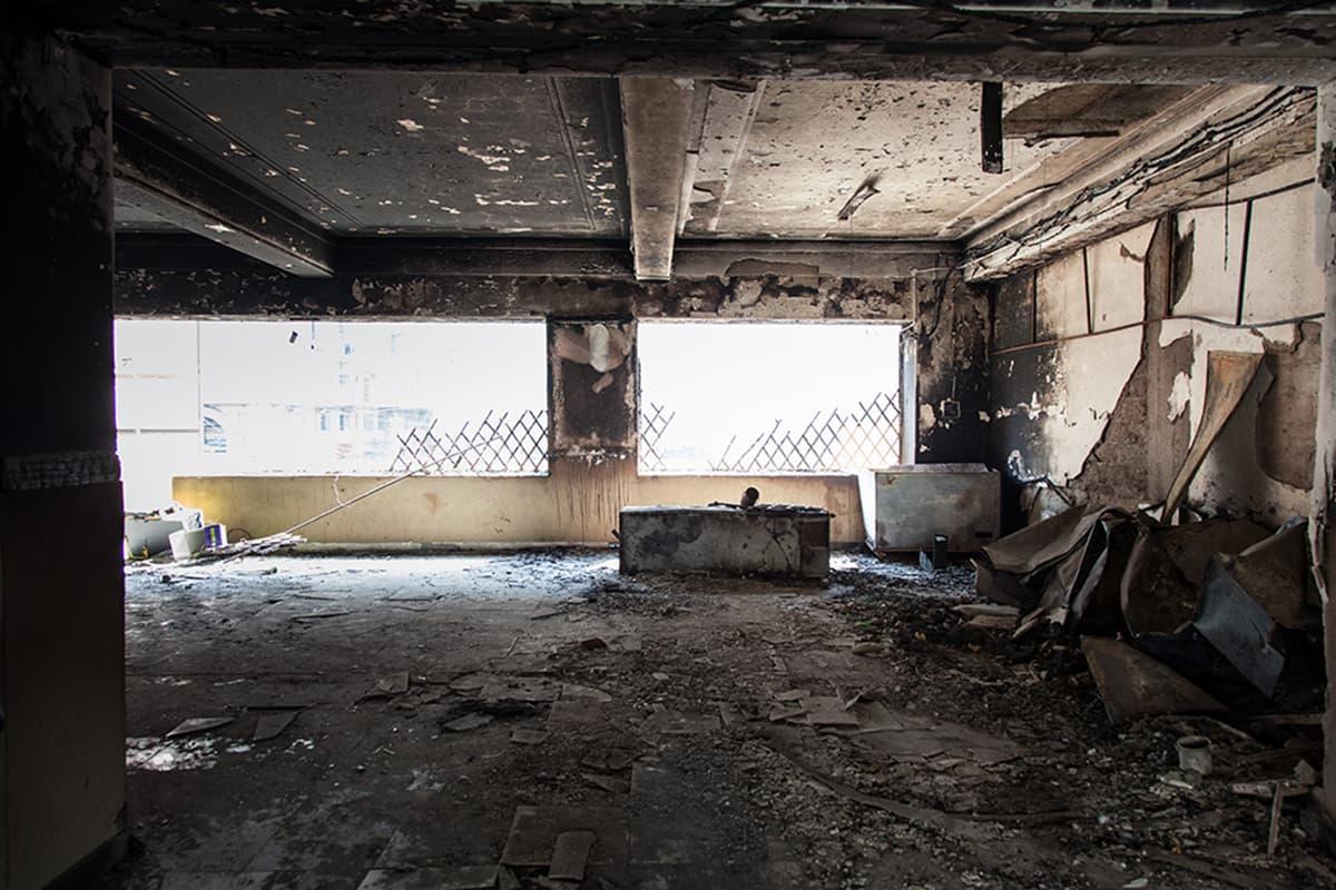 View of the burnt gallery. —Photo courtesy: Khaula Jamil