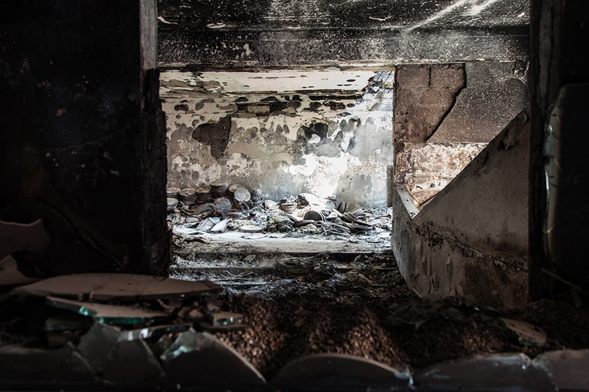 Stacks of burnt film reels lie in the store room. —Photo courtesy: Khaula Jamil