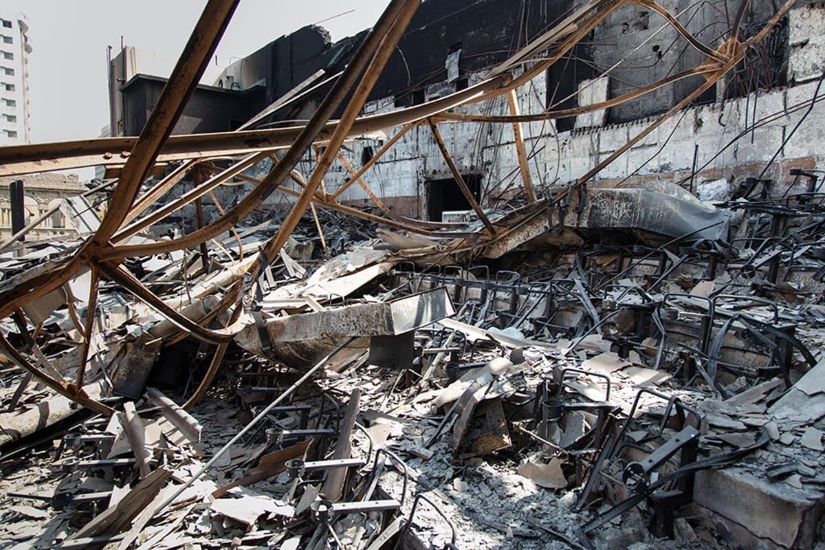 Inside of the cinema hall shows burnt chairs. —Photo courtesy: Khaula Jamil