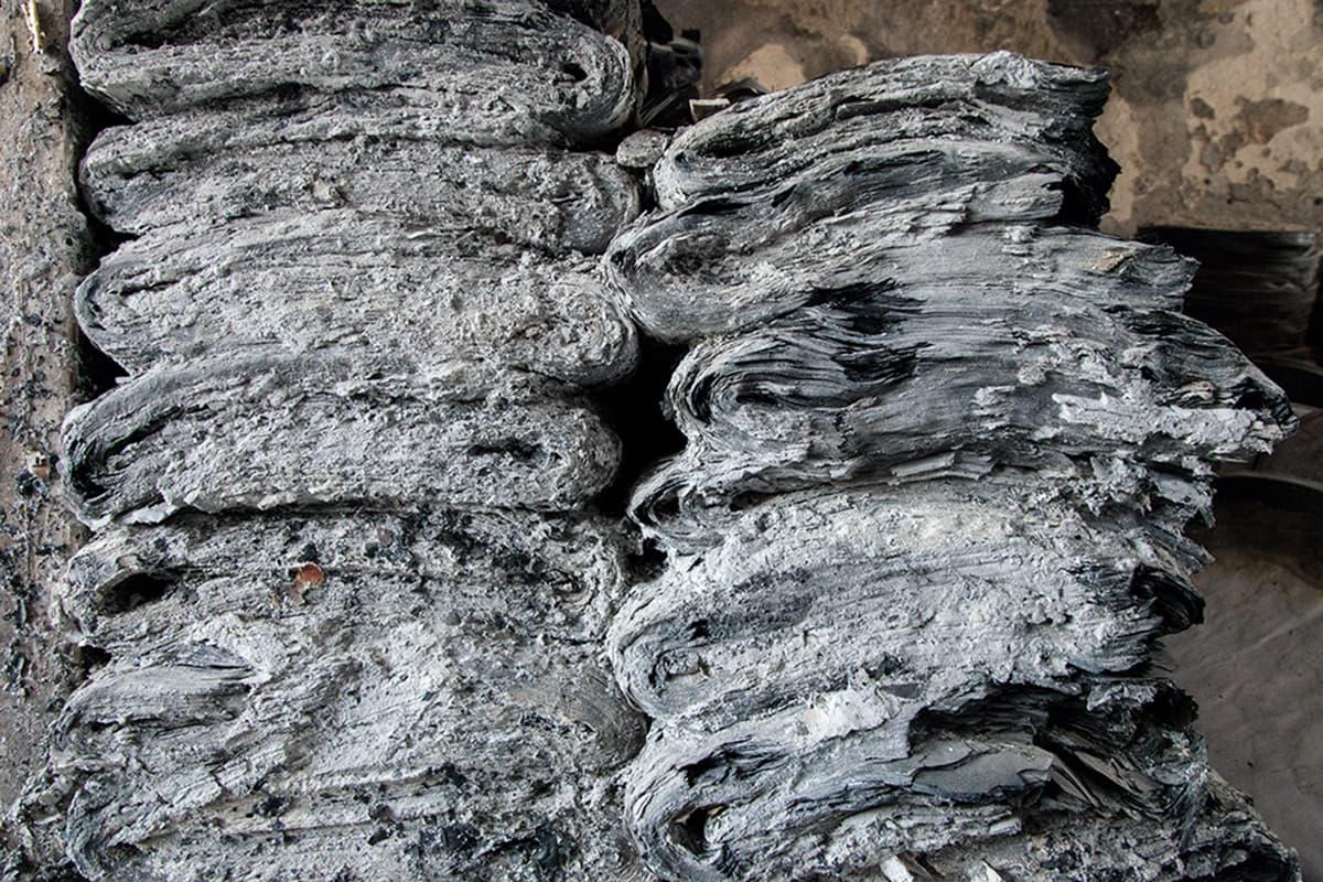 Piles of poster turned to ashes. —Photo courtesy: Khaula Jamil