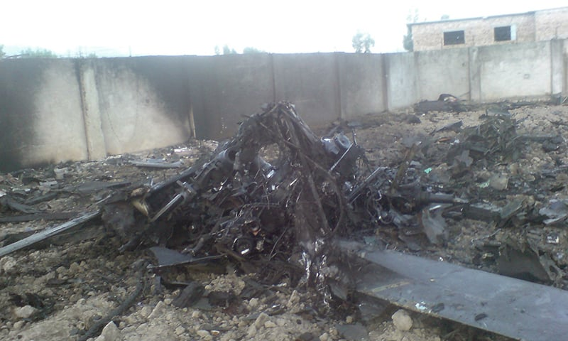 Helicopter wreckage is seen in the compound after US Navy SEAL commandos killed Al Qaeda leader Osama bin Laden. -Reuters/File