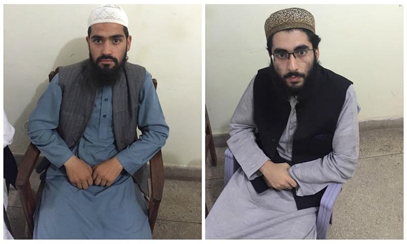 Sons of deceased Lal Masjid cleric Ghazi Abdul Rasheed, Haroon and Haris. ─ DawnNews screengrab
