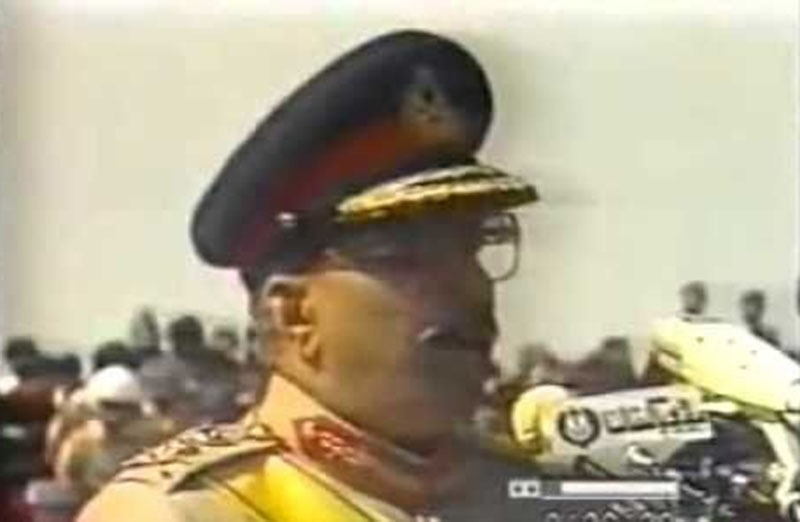Video grab of Zia speaking to a gathering after reaching Hyderabad (September, 1983).