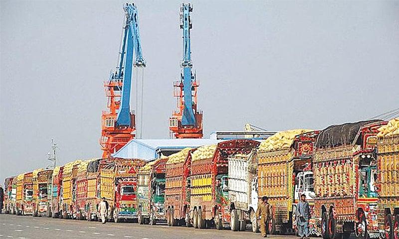 Trucks lined up at Gwadar Port