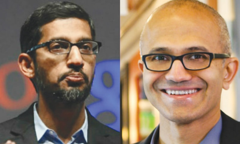 CEOs of Indian origin: Google's Sundar Pichai (left) and Microsoft's Satya Nadella.