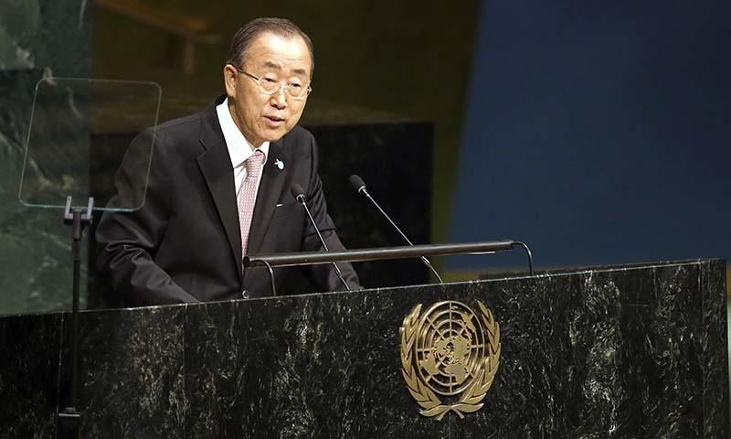 United Nations Secretary-General Ban Ki-moon addresses the Sustainable Development Summit 2015, Friday, Sept. 25, 2015 at United Nations headquarters. — AP
