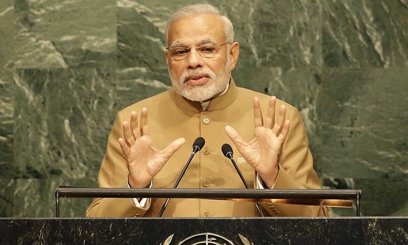 Indian Prime Minister addresses the United Nations Headquarters. — AP