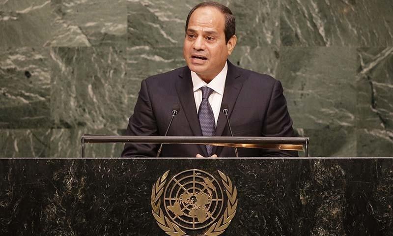 Egyptian President Abdel Fattah Al Sisi addresses the United Nations Headquarters. — AP