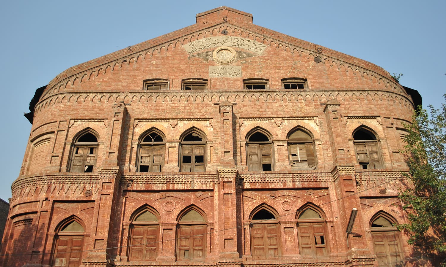 The front facade of the building.