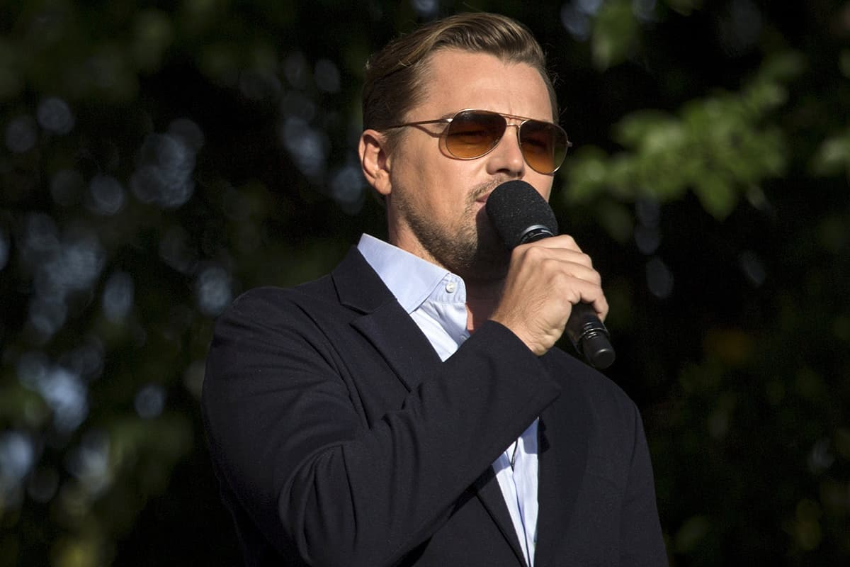 Actor Leonardo DiCaprio speaks on stage during the Global Citizen Festival. — REUTERS
