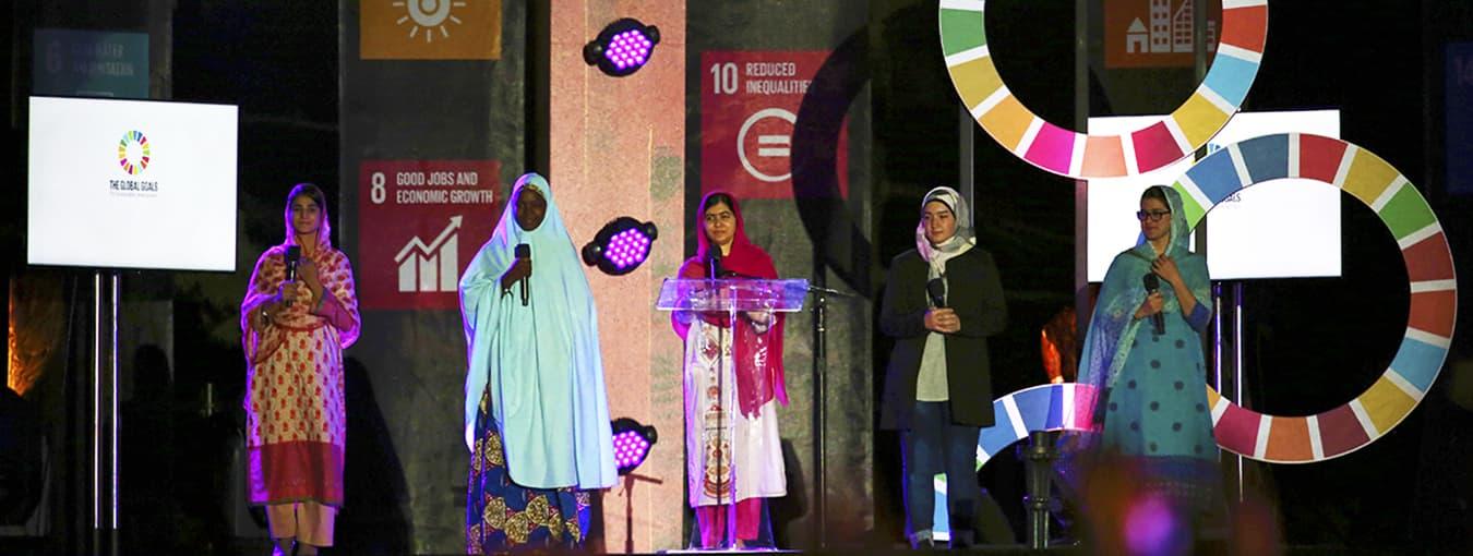 Nobel Peace Prize winner Malala Yousafzai, center, speaks at the Global Citizen Festival in Central Park, Saturday, Sept. 26, 2015, in New York. (AP Photo/Adam Hunger)