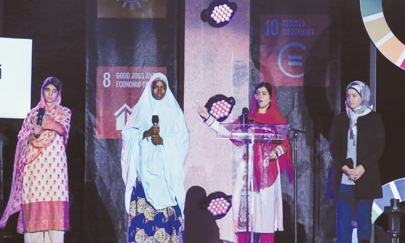 NEW YORK: Education activist and Nobel laureate Malala Yousafzai speaks at the fourth annual Global Citizen Festival in Central Park Manhattan. The festival is part of the Global Poverty Project, a UN-backed campaign to end extreme poverty by 2030.—AFP