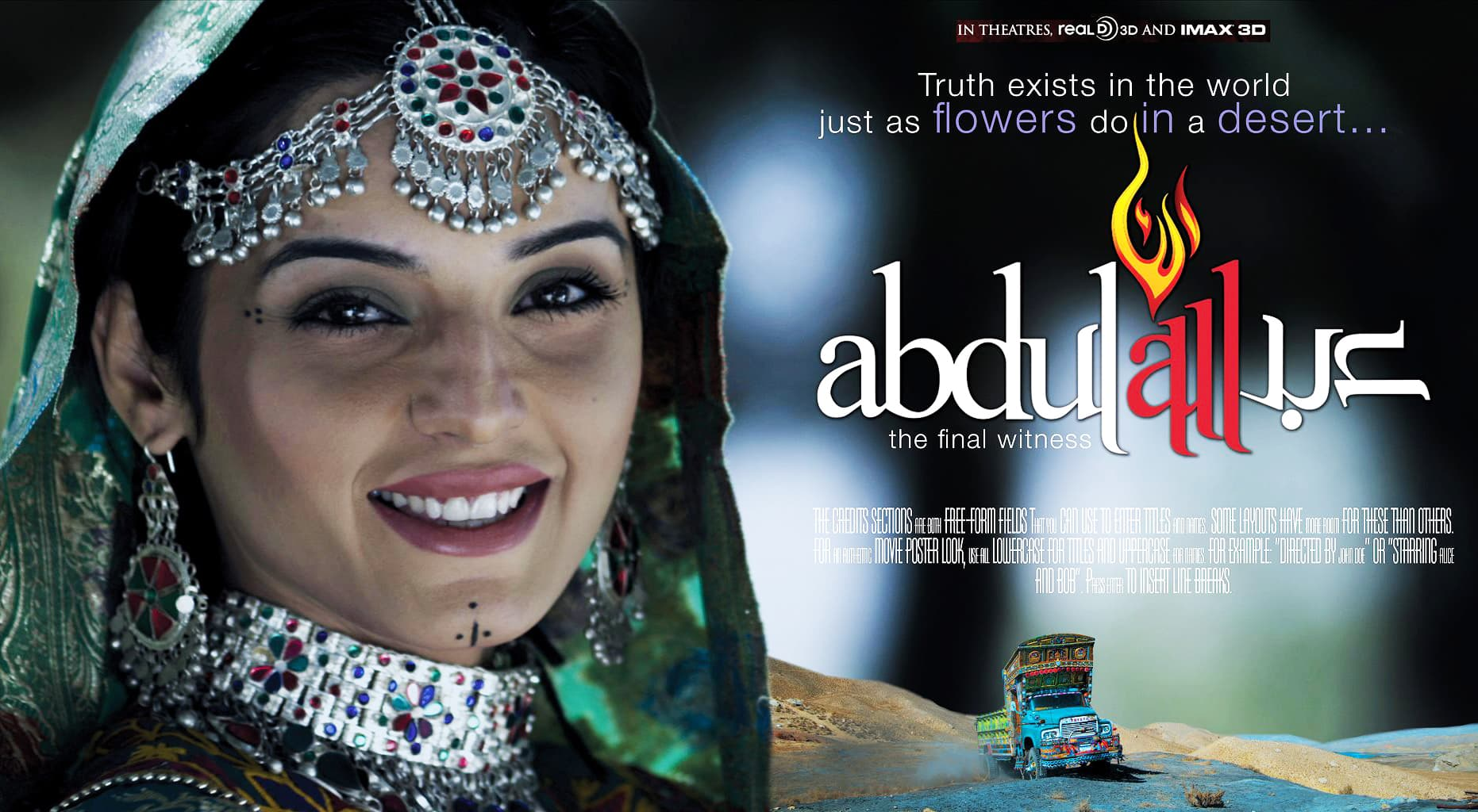 Abdullah stars Imran Abbas, Sadia Khan (pictured in the poster here), Hameed Sheikh and Sajid Hassan in important roles – Publicity photo