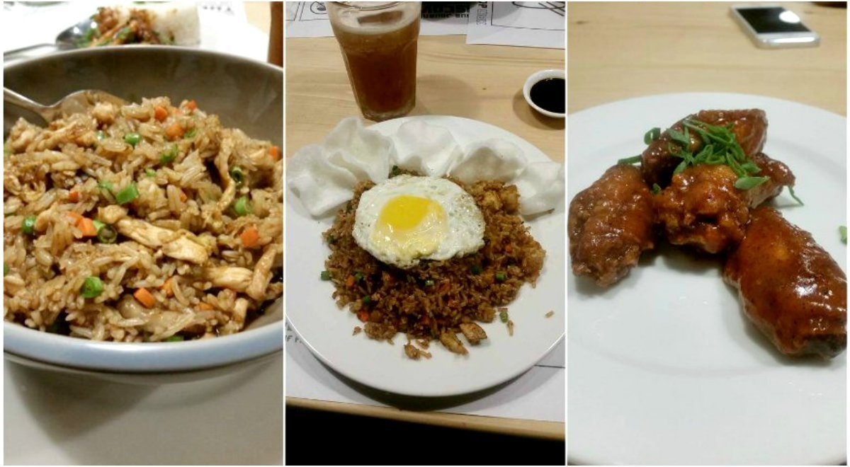 From L-R: Rice bowl with Japanese sauce and chicken, Nasi Goreng and Crispy BBQ wings