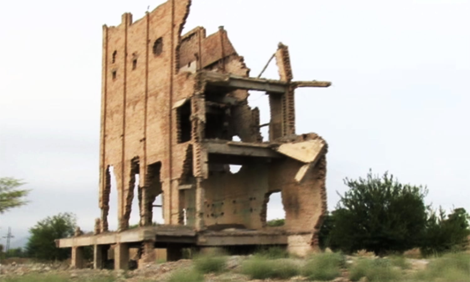 This picture shows a building damaged in Miranshah. — Photo by author