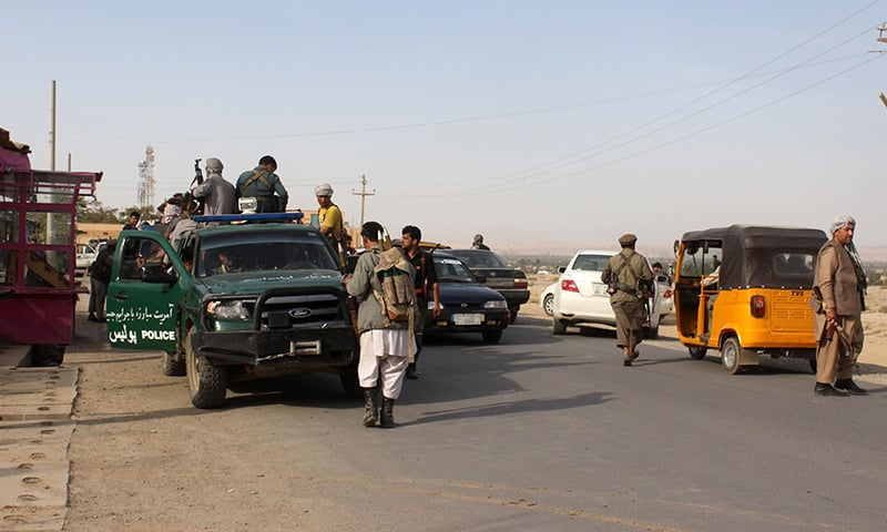 Afghan security forces patrol, as battles were ongoing between Taliban militants and Afghan security forces in Kunduz. —AFP