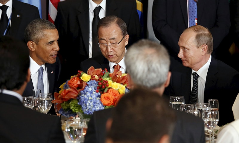 Obama and Putin's dueling speeches at UN General Assembly served as a public preview of their private meeting later. —Reuters