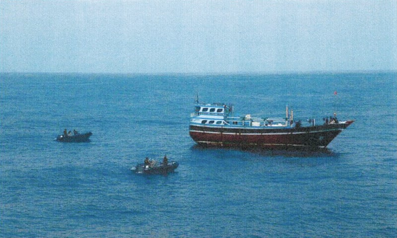 AN Iranian boat (right) pictured after it was seized by Saudi-led forces in Yemen.—Reuters