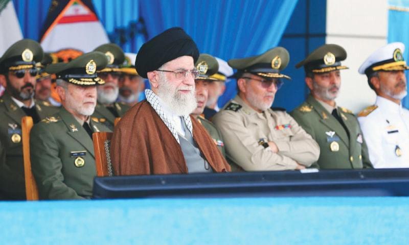 Noshahr: Iran's supreme leader Ayatollah Ali Khamenei attends a graduation ceremony of naval cadets on Wednesday.—AFP