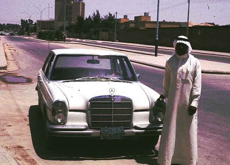 A Saudi man with a brand new car in Riyadh, 1974.