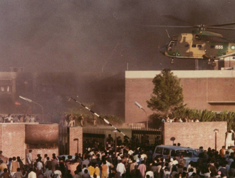 US Embassy in Islamabad under attack by an enraged mob (1979).