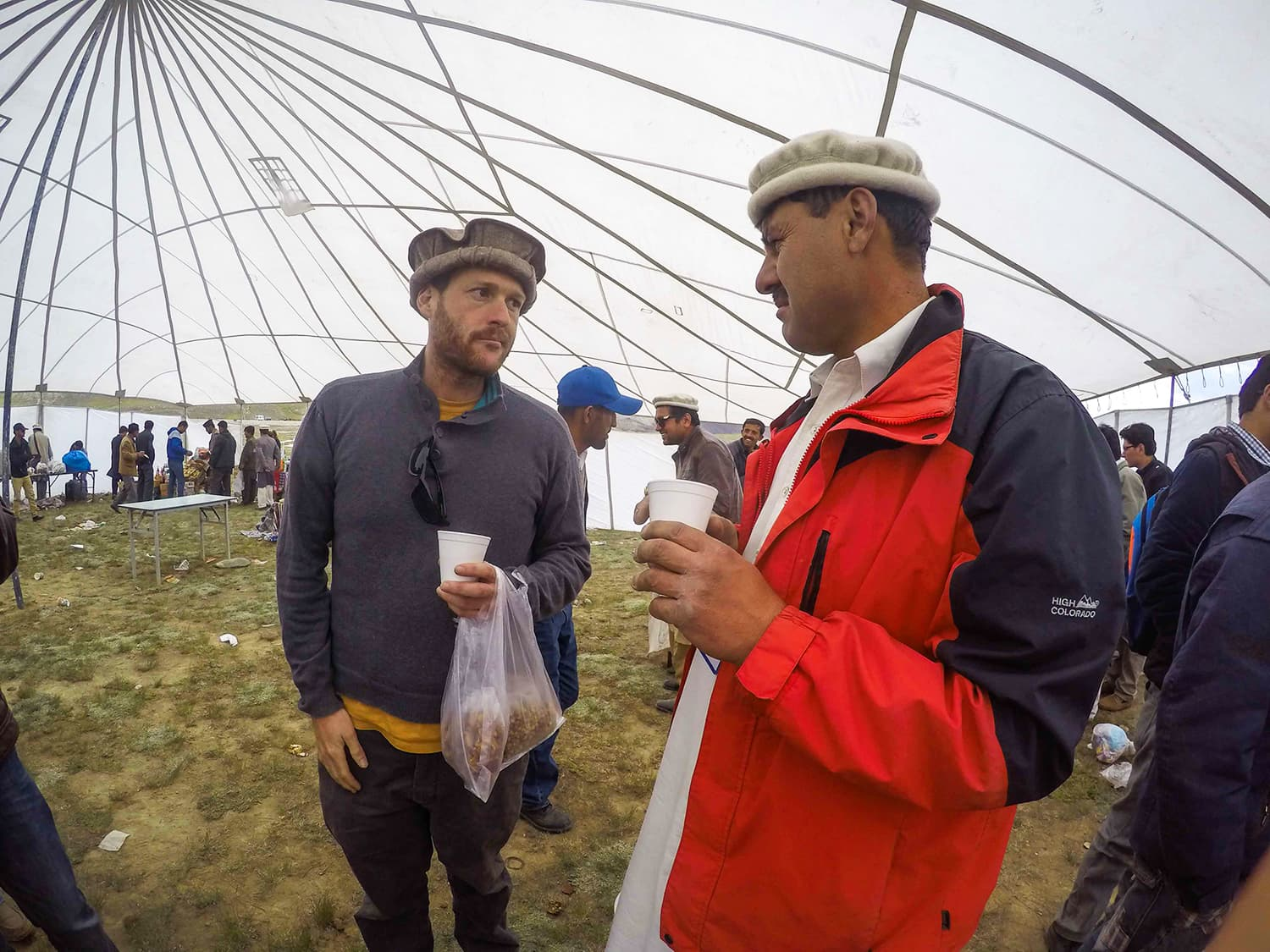 Having a chat with a mate at the Khunjerab Festival. —Madeeha Syed