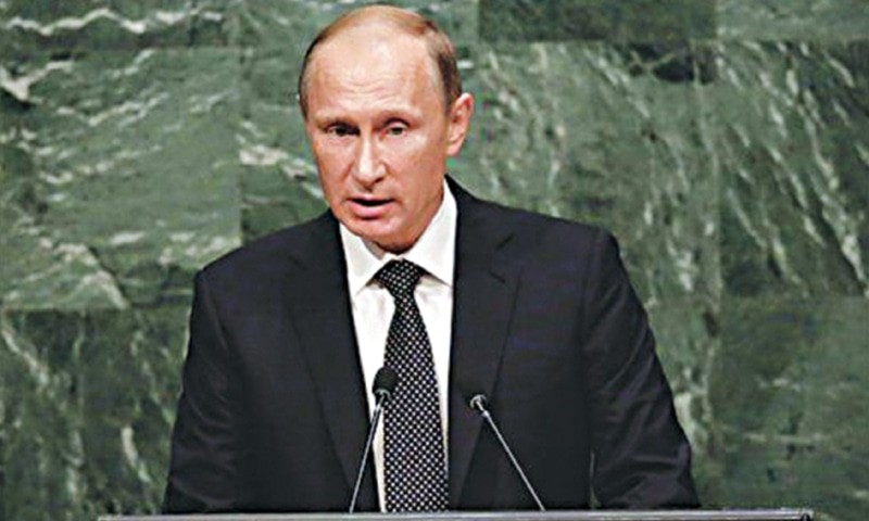 President Vladimir Putin addresses the 70th session of the United Nations General Assembly on Sept 28.—AP