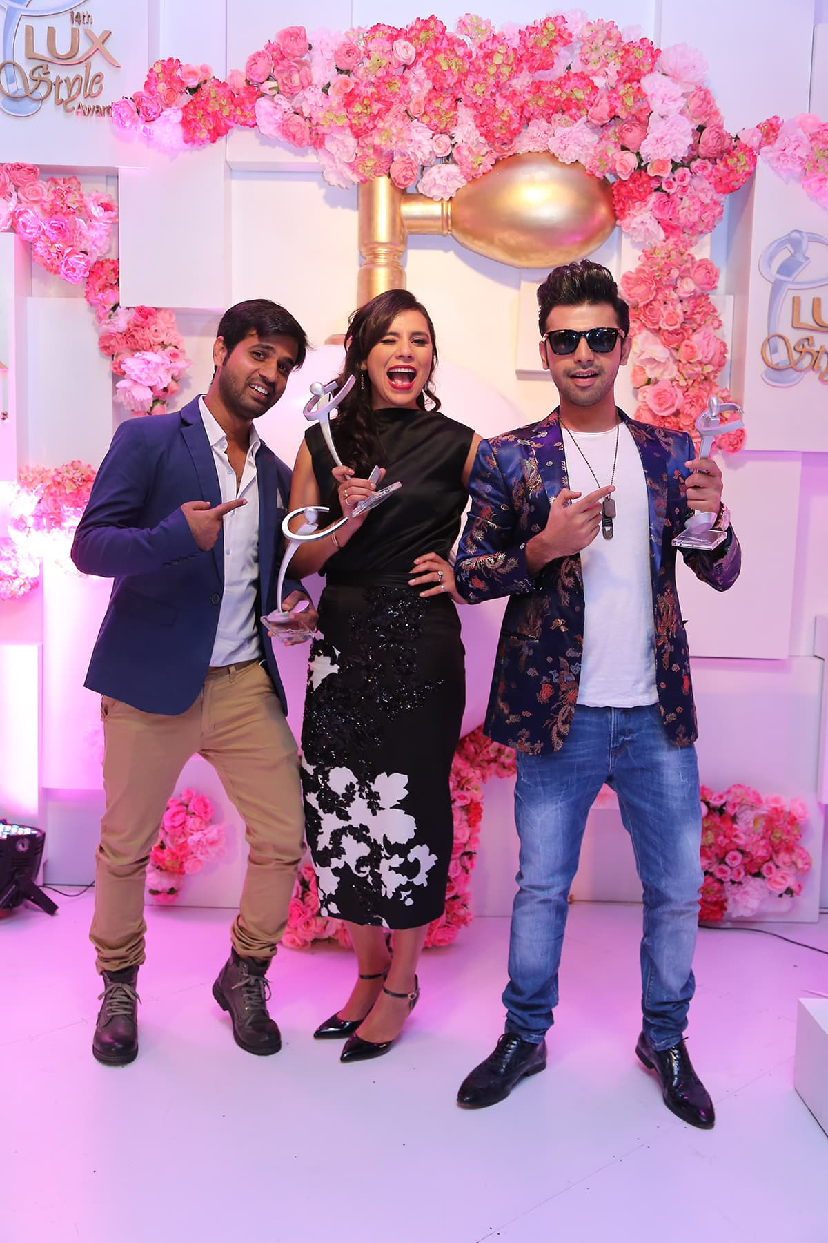Zoe Viccaji with Adnan Kandhar and Farhan Saeed