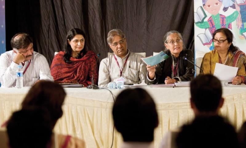 (L-R) Asif Raza, Samina Imtiaz, Peter Jacob, Tahira Abdullah and Baela Raza take part in the session 'Curriculum of Peace or Hate?' on Friday. — White Star