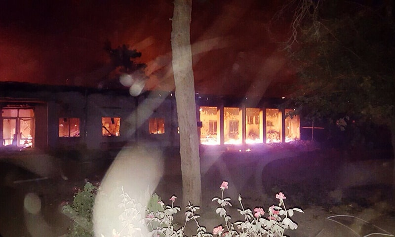 Fires burn in part of the MSF hospital in the Afghan city of Kunduz after it was hit by an air strike. — AFP