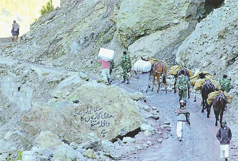 Army soldiers use mules to carry relief supplies along the mountains in the quake-devastated area of Balakot. —AFP