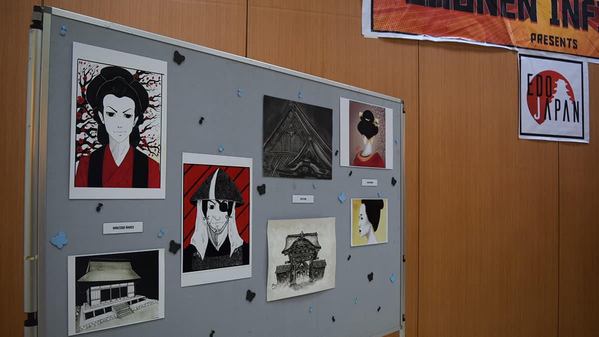 Artists' work displayed at the event. — Photo by author