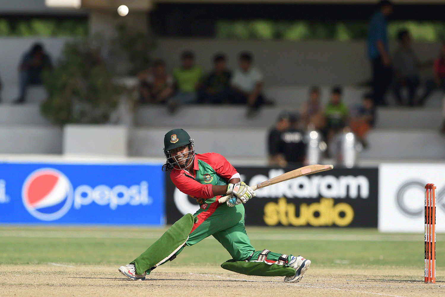 Bangladesh's Rumana Ahmed plays a shot during the second women's One Day International (ODI) cricket match between Pakistan and Bangladesh at the Southend Club in Karachi on October 4, 2015. — AFP