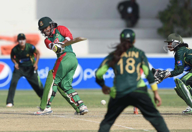 Bangladesh's Rumana Ahmed plays a shot. — AFP