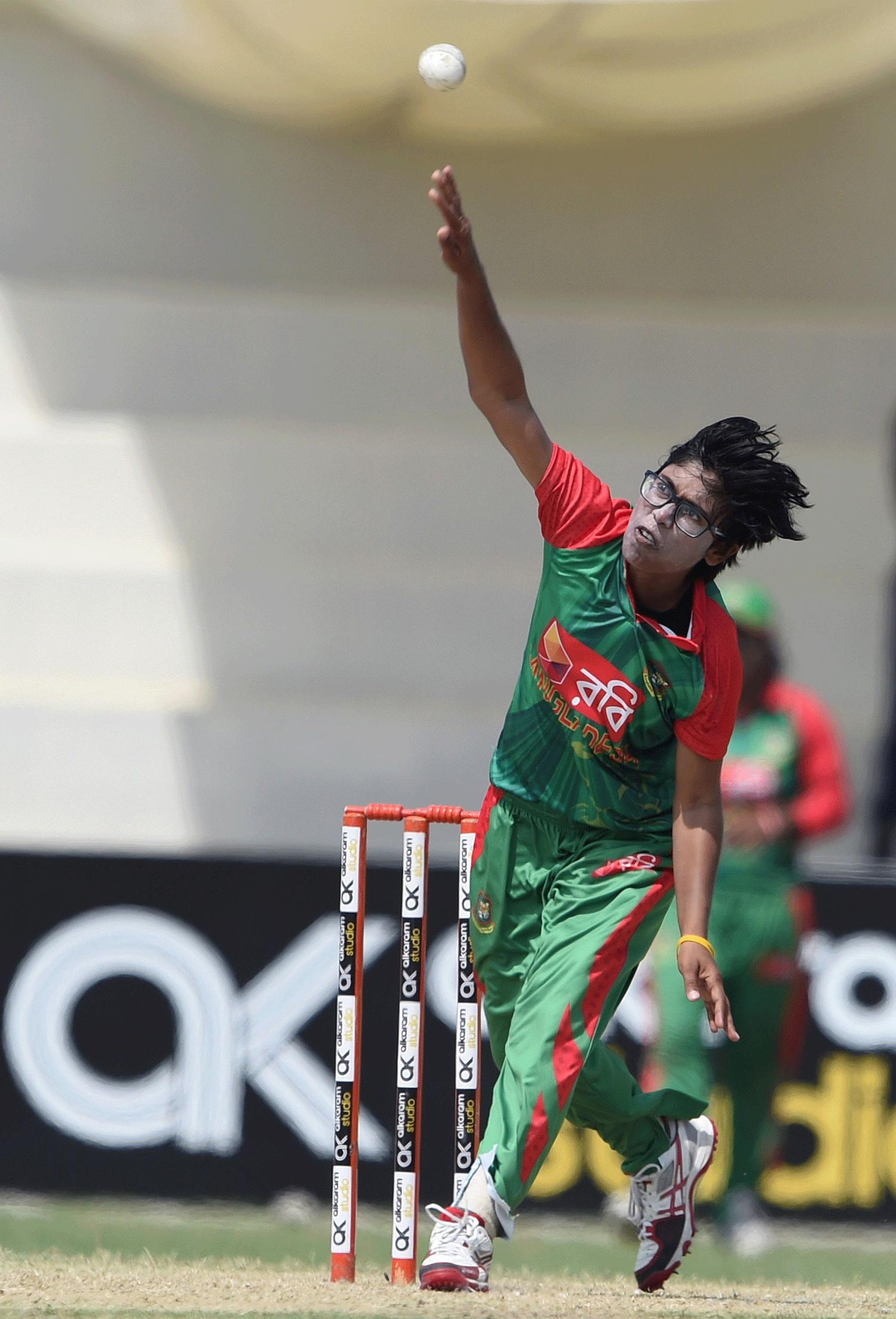 Bangladesh's Fahima Khatun delivers a ball. — AFP