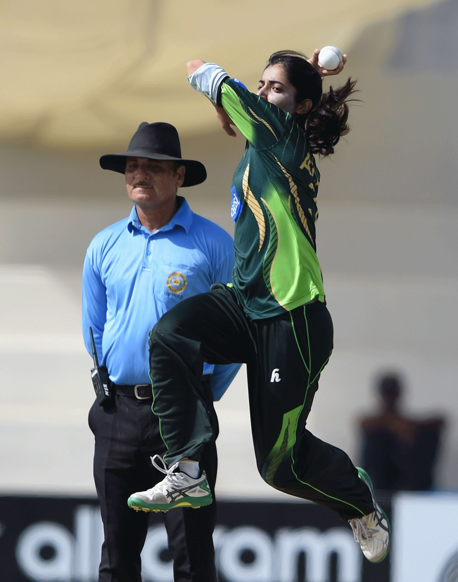 Pakistan cricketer Aliya Riaz delivers a ball. — AFP