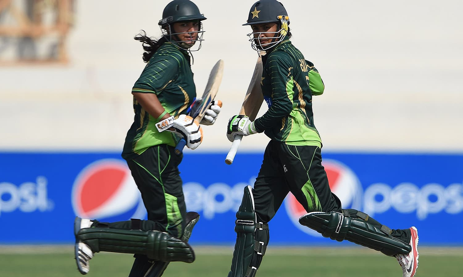 Bismah Mahroof (r) and Marina Iqbal (l) are pictured during their first wicket stand. — AFP