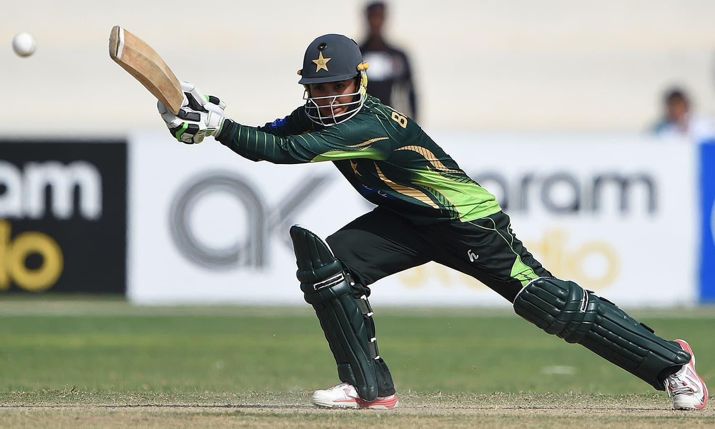 Pakistan's star batsman Bismah Maroof plays a shot. — AFP