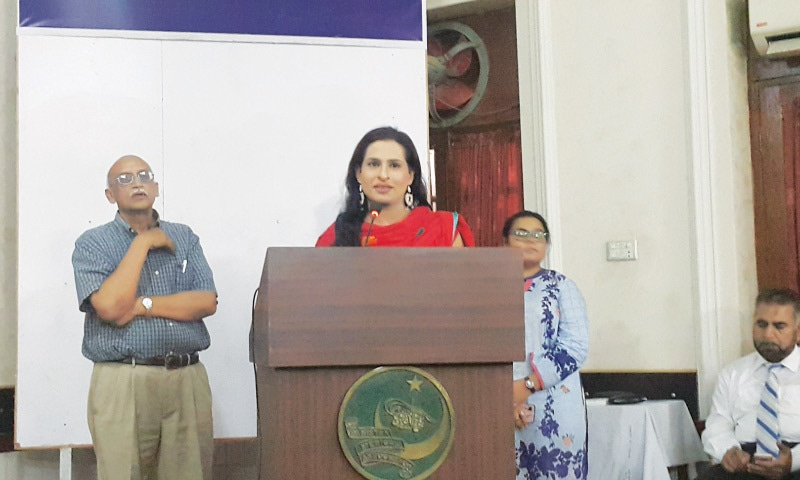 Sapna speaks at the event.—Photo by author