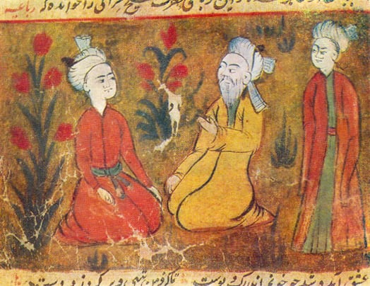 A 13th century miniature showing Amir Khusro teaching pupils music that evolved into becoming the Qawaali.