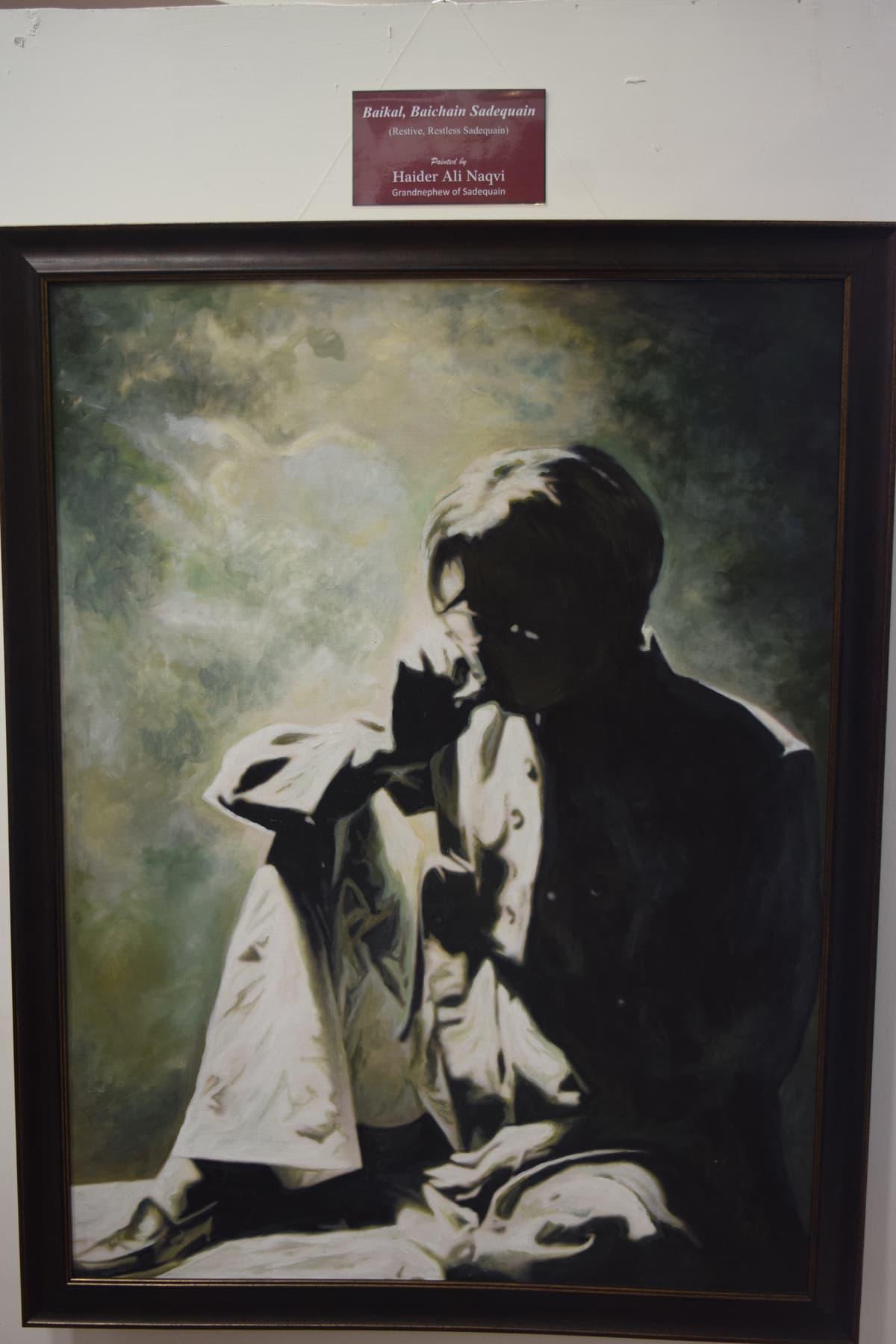 Sadequain's portrait as painted by his grandnephew. — Photo by Yumna Rafi