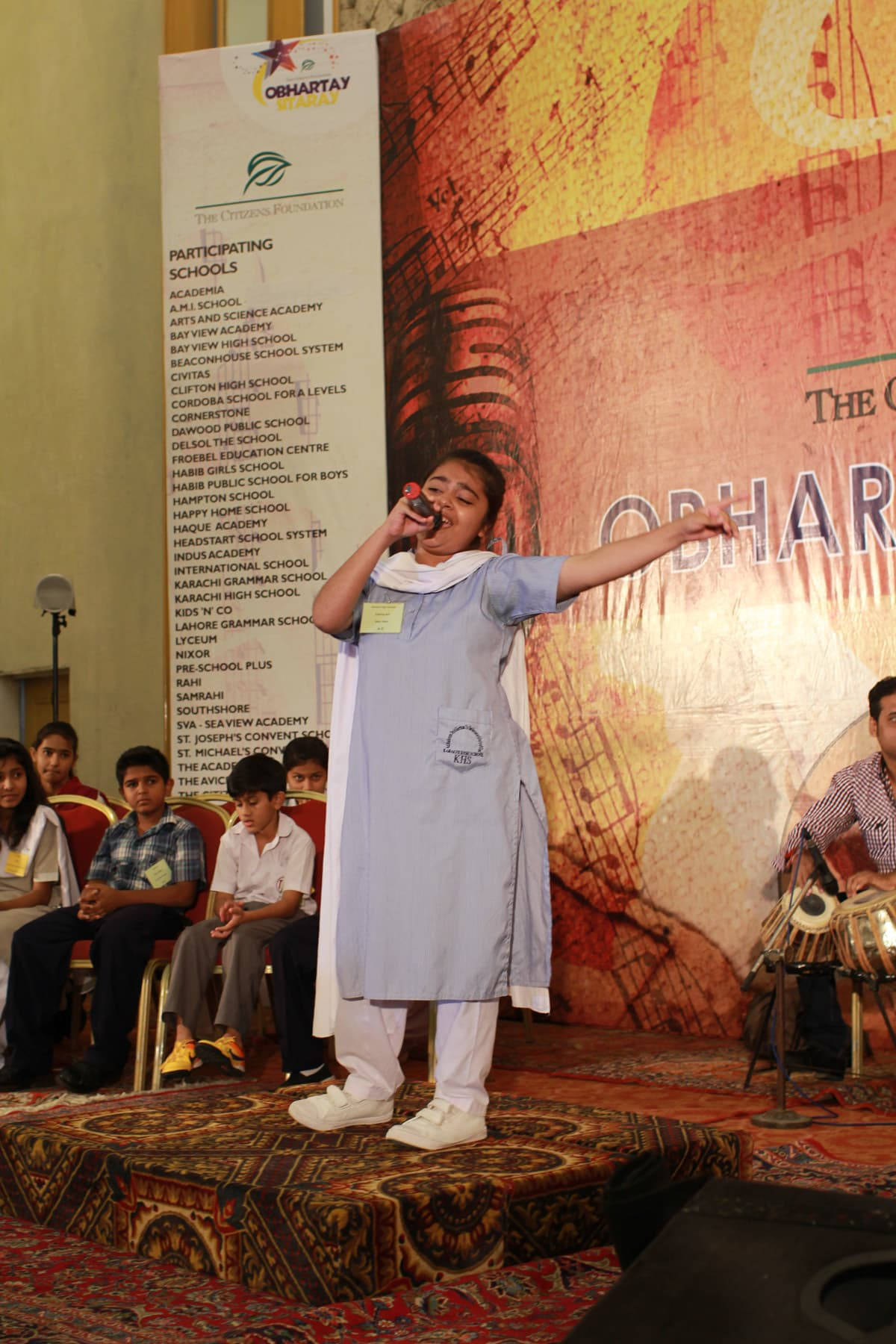 Participants perform at the event.