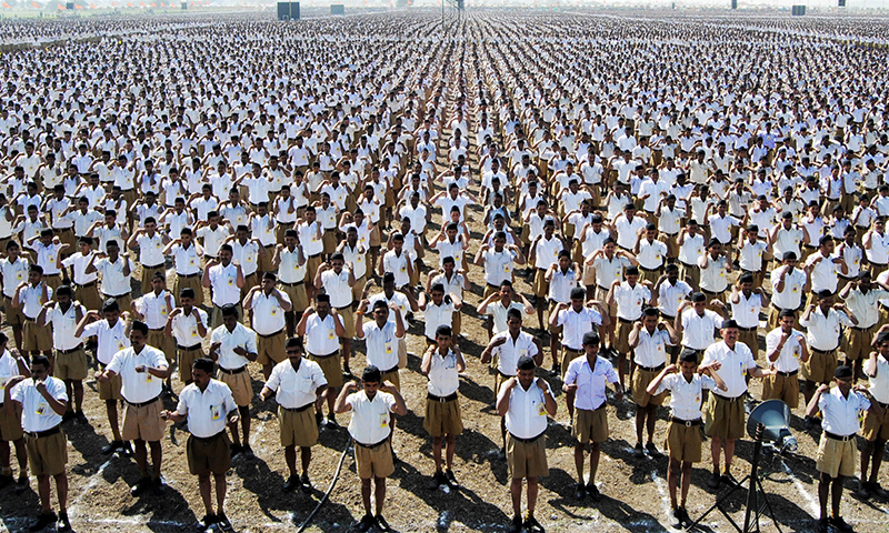 Rashtriya Swayamsewak Sangh (RSS) workers participate in a convention in Indore, India. — AP/File