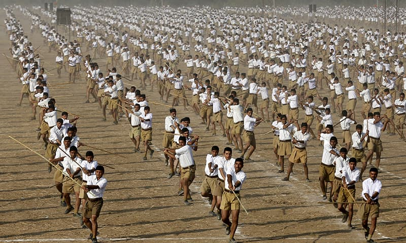 RSS activists take part in a drill in Ahmedabad, India. — Reuters