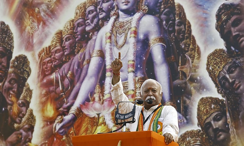 Bhagwat, RSS chief, addresses a rally in Kolkata, India. — Reuters