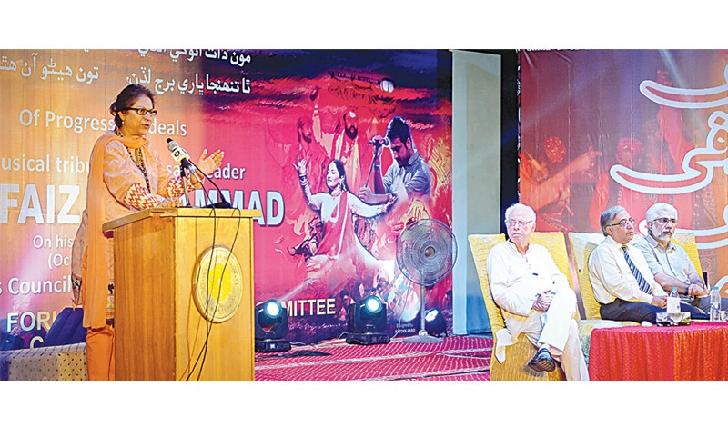Human rights activist and lawyer Asma Jahangir speaks at the Arts Council, where an event was held to pay homage to the late Qazi Faiz Mohammed on Tuesday.—White Star