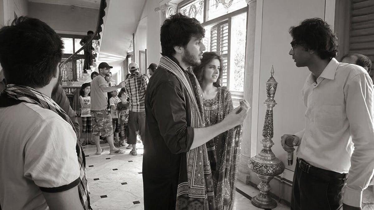 Ahsan Khan and Saba Qamar in a BTS shot