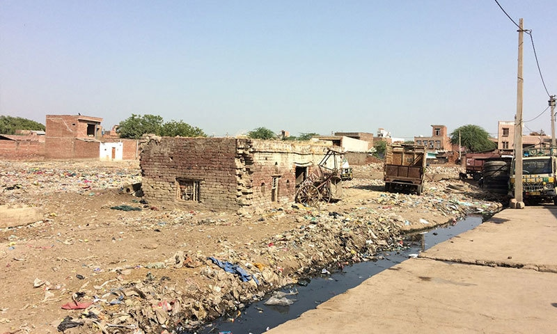 On the Hindu side of Karhal are fields. On the Muslim side, plastic-filled wastelands